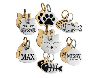 Cat Tag, Cat ID Tag, Personalized Cat Tag, Small Pet Tags Steel Brass 24K Gold Plated