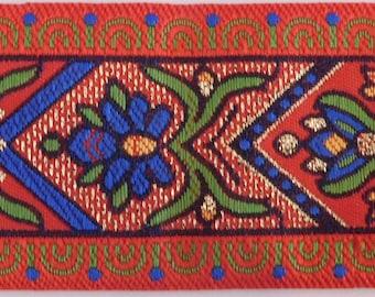 Jacquard Ribbon Trim | 1-1/2 Inch Woven Jacquard Ribbon | Renaissance Fair Costume Trim~Red~blue~green~metallic