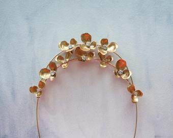 Gold flower crown, Wedding Hair Jewelry, Halo, Floral Headpiece, Hair Accessories, Bride, Weddings, Bridal leaves head piece, Garden Jewelry