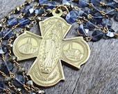 Saint Mary, Iolite and Pyrite Necklace, Sparkling Indigo Blue Gems, Antique Catholic Cross Religious Medal, Virgin Mary, Gold Patron Saint