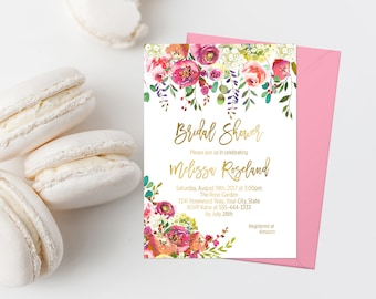 Bohemian Bridal Shower Invitation Printable Boho Bridal Shower Invite Shabby Bridal Shower Invite Pink Floral Bridal Luncheon Gold Foil  244