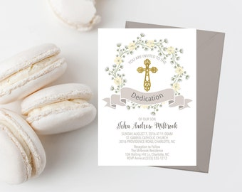 Baptism Invitation Printable Dedication Invite Baptism Floral Invitation First Communion Religious Invitations Baby Breath Gray Yellow Gold