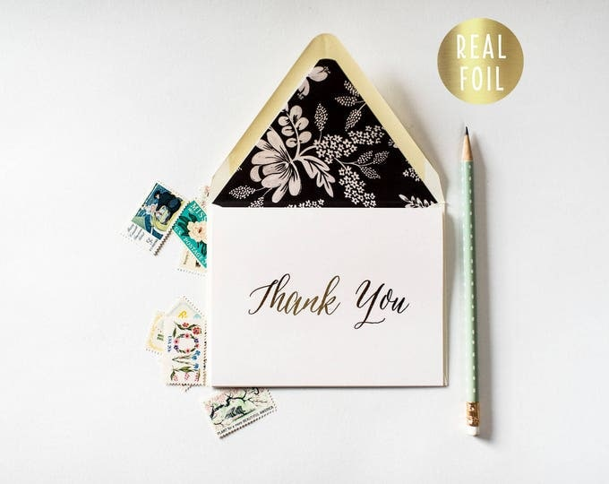 gold foil thank you cards +  lined envelopes (sets of 10) // wedding thank you cards real gold foil pressed stamped card