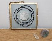 Moon and Stars - Hanging frame papercut - Original size - ink and paper - framed papercut