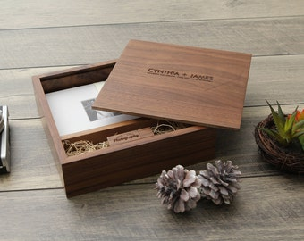 "4x6"" Walnut Wood USB and Photo Box - Print Proof Box - Photography Presentation Box  ( Custom Laser Engraving, USB Optional )"