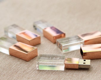 10 Pack Crystal USB Drives - Rose Gold or Gold Crystal Glass USB Flash Drive - Engraved Glass Thumb Drive