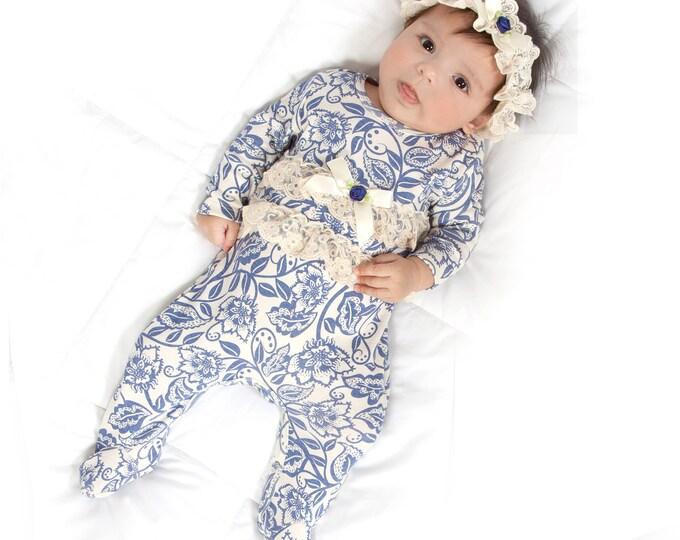 SALE! Baby Girl Romper, Newborn Girl Footie Romper, Infant Girl Footie Bodysuit, Long Sleeve Romper, Ruffles, Blue Floral, TesaBabe