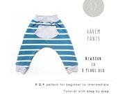 Harem Pants sewing pattern. Baby sewing pattern. Kids sewing patterns. Girl Boy pants. Baby pants. Toddler pants. Boho pants. Hipster boys.
