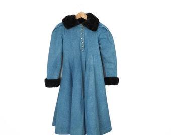 Vintage Steampunk Neo Victorian Denim Princess Coat with Faux Fur Trim Size S/XS