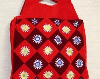 1970s Red Velvet Tote Bag Boho Hippie