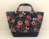 Les fleurs navy lunch tote / tote bag / lunch bag