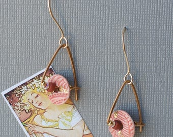 Porcelain earrings in sunset glaze & 22kt. accents - Dangle earrings - Porcelain disk earrings - Gold-filled wires - Beaded earrings