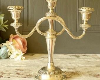 Silver plated triple candelabra, vintage freestanding table decor