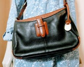 Original Vintage 80s Liz Claiborne Designer Handbag Black  Tan Brown Leather Shoulder Bag Purse