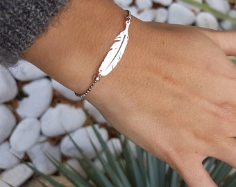 Feather silver chain bracelet