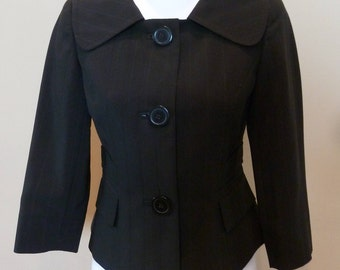Women's Van Heusen Black Blazer XS Stripe Stretch 3/4 Sleeve Cropped Tailored Jacket 3 Buttons