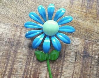 Vintage Blue and Green Metal Flower Pin or Brooch