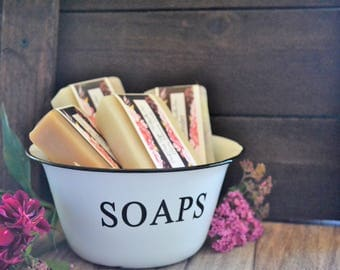 Soap Gift Set | Assorted Soaps | Handcrafted Cold Process Soap | Rustic Soap Made in Iowa | Paint Creek Soaps | Enamelware Soap Bowl