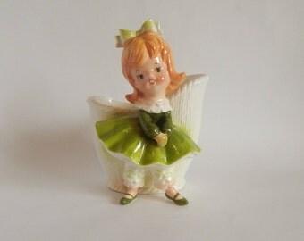 Relpo Little Girl Ceramic Figurine Planter