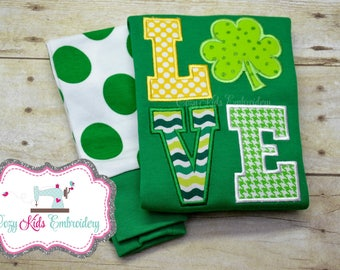 St. Patrick's Day pajamas boy girl kid child baby toddler infant embroidery applique custom monogram name personalized saint patty