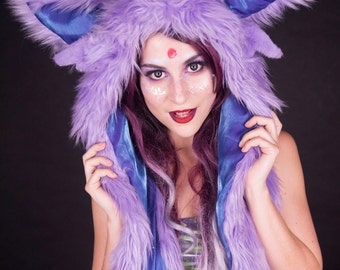 LED Espeon spirit hood, scoodie, rave hood, pokemon cosplay,