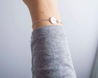 Silver initial & Opal Bracelet, Rose Gold Bracelet, Personalised Disc Bracelet, Initial Bracelet, Opal Bracelet, Dainty bracelet