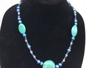 Turquoise and Blue Beaded Matinee Necklace