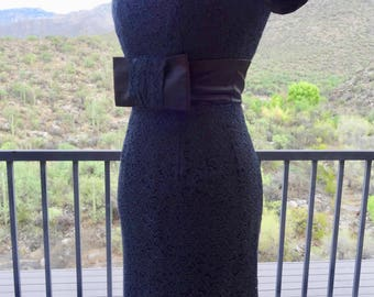 50s LITTLE BLACK DRESS / Vintage Black JrTheme Sheath Dress/ 50s Little Black Dress/ Retro Wiggle Dress in Black Lace