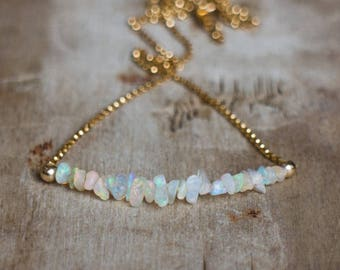 Raw Opal Necklace in Gold or Silver, Ethiopian Welo Opal Necklace, October Birthstone, Opal Jewelry, Rough Stone Necklace