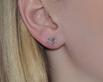Silver Stud Earrings, Sapphire stud earrings, Sapphire post earring, Cartilage earring, 20 gauge helix earring stud, Cartilage piercing