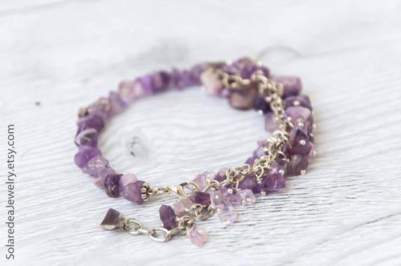 Raw amethyst bracelet, February birthstone jewelry, Purple bead bracelet / Birthstone bracelet for mom, Mother in law gift