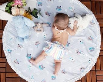 Bear Play Mat, Floor Rug Nursery Decor, Padded play mat, Round rug.