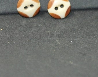 17mm Handpainted  Ceramic Buttons (2 pc)
