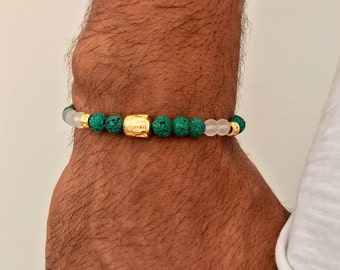 Budha Bracelet, Men's Bracelet, Budha Jewelry, Lava Beaded Bracelet, Gift for Him, Made in Greece by Christina Christi Jewels.