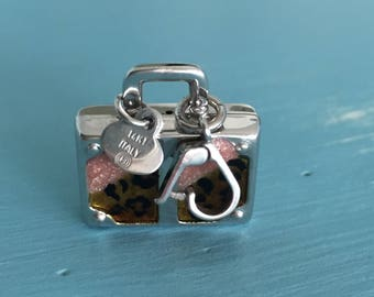 Purse Charm 14K White Gold with Leopard and Pink Enamel made in Italy