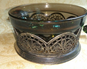 Decorative bowl Vintage metal bowl Candy bowl  Filigree  bowl  Metal vase Vintage bowl  Brass bowl  Collectibles USSR Trademark  1960s -70s