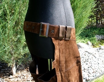 Cowgirl Brown Suede Western Chaps, Leather Cowhide Chaps, Barrel Racing Chaps, Cowgirl Chaps, Ladies Chaps, Rodeo Wear, Cowboy Saddlery
