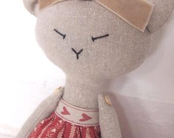 Cat Handmade Doll - handmade stuffed toy, stuffed animal, linen doll, handmade fabric cat, cloth doll, nursery decor, baby girl gift.