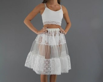 Ivory Lace Petticoat edged in Delicate Lace Trim