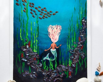 Little Mermaid Original Acrylic Painting, acrylics on paper, original art, ArtWork by AliiArtColors, 297x210mm