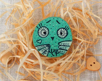 Hand painted teal wood owl Brooch illustrated Funny animal jewelry cute design artisan woodland creature bird wood pin eco friendly gift