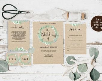 Greenery Wedding Invite, Invitation Suite, Greenery Wedding, Wedding Invite, Wedding Invitation Template Download, Greenery Invitation, 6029