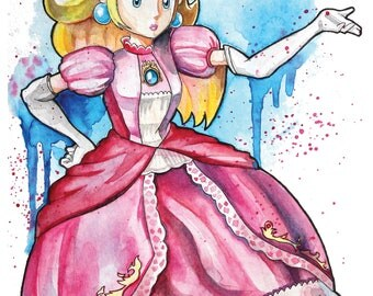 Princess Peach Watercolour A4