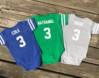 Baby triplets etsy triplets set onesie baby jersey personalized onesie football onesie baby negle Images