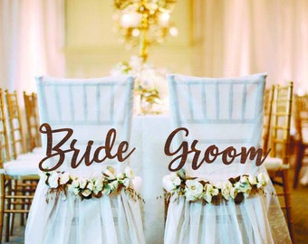Wedding Chair Signs Bride and Groom Chair Signs Wedding Signs Wood Wedding Decorations Wedding banner Wedding Accessories bride and groom
