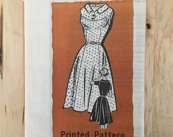 """Vintage 1960's mail order pattern 9297 summer dress with full skirt and yoke top Size 14 Bust 34"""""""