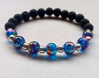 Essential Oil Diffuser Bracelet, Lava Stone and Drawbench Drizzle Glass Stretch Bracelet
