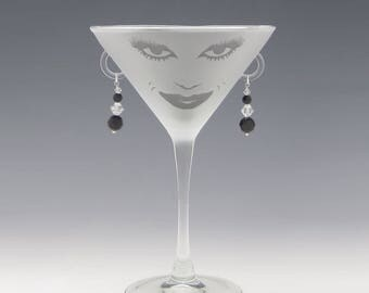 Lola Martini Glass - Handmade Black Swarovski Earrings - great girlfriend glass, bridesmaid glass, or my own special glass!