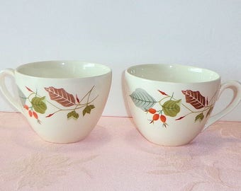 Ridgway GAYWOOD 6 Pc 2 Cups 4 Side Plates Staffordshire England Leaves Berries