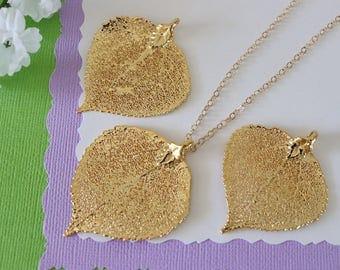 Gold Aspen Leaf Necklace, Real Leaf Necklace, Aspen Leaf, Gold Leaf Necklace, Long Leaf, Leaf Pendant LC203